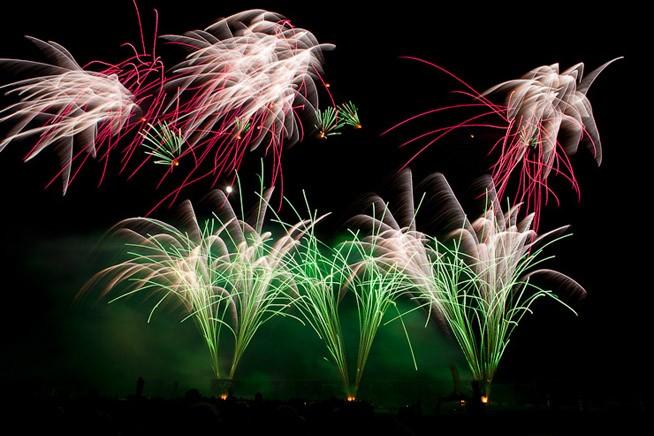Feuerwerk Hannover 2011: Schweden, wunderbarer Grünton (keine große Bildbearbeitung!)