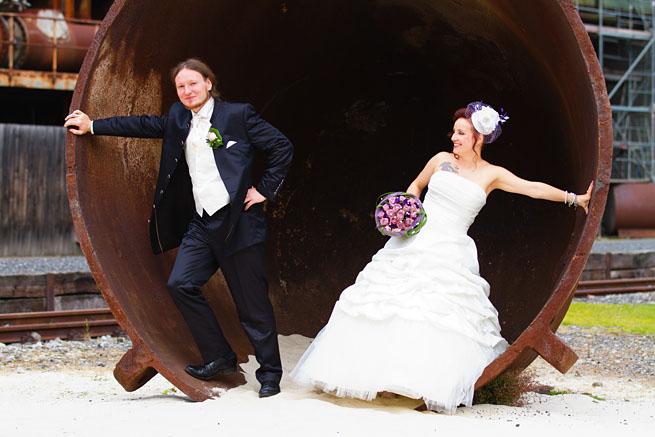 Hochzeitspaar auf Gelände der Henrichshütten
