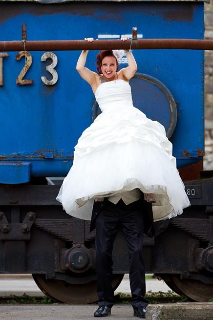 witzige Hochzeitsfotos Henrichshütte in Hattingen