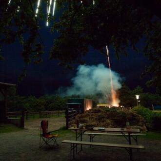 Sicht auf die Feuerwerksabschüsse