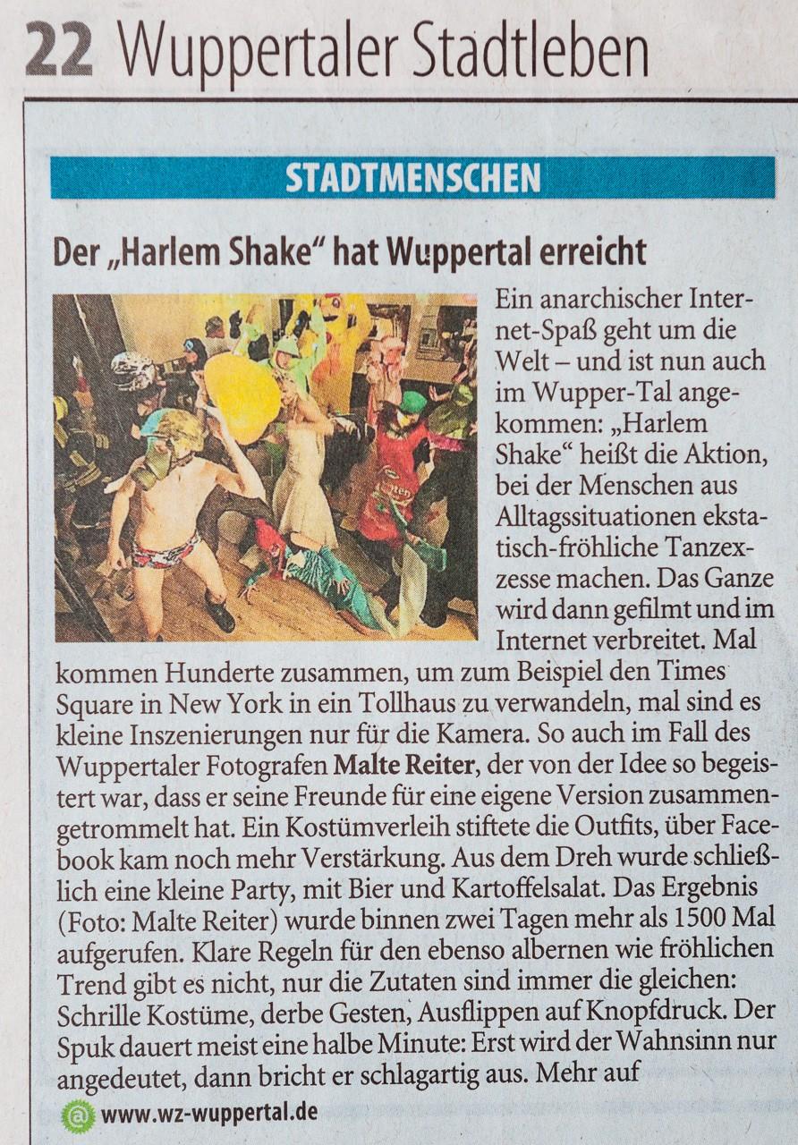 WZ Bericht über Harlem Shake im Fotostudio von Malte Reiter Fotografie
