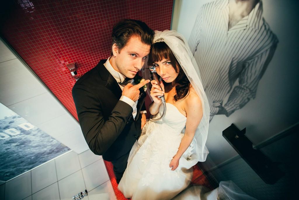 Landhaus Spatzenhof Hochzeit Fotos in Dusche