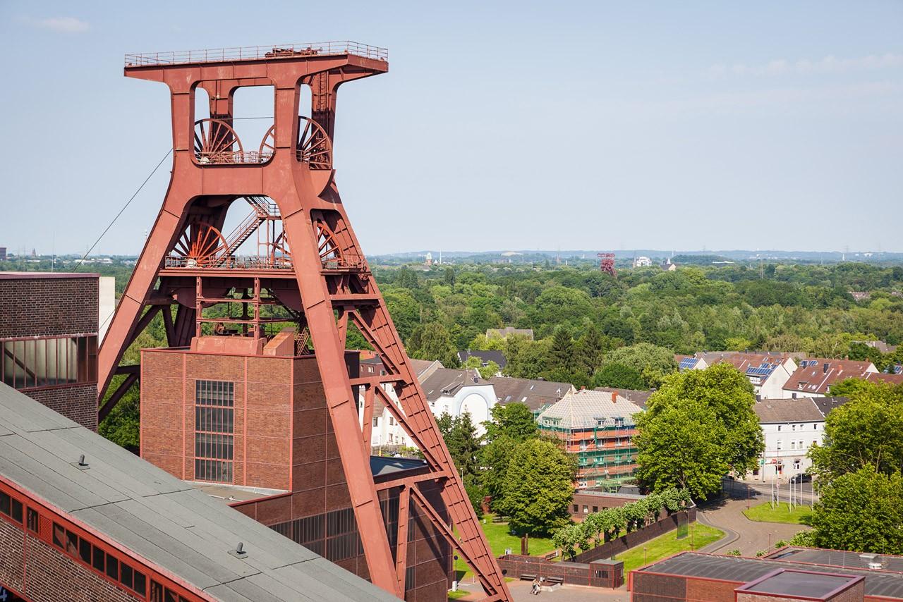 Ausblick auf den Förderturm Zeche Zollverein Erich-Brost-Pavillon