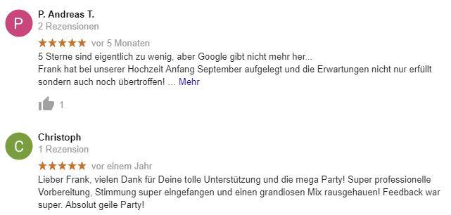 google erfahrungsbericht hochzeits-dj