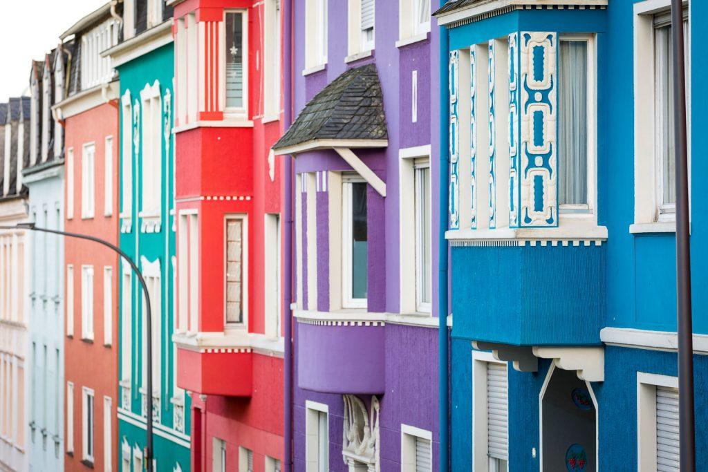 Bunte Häuser der Konsumgenossenschaft in Wuppertal