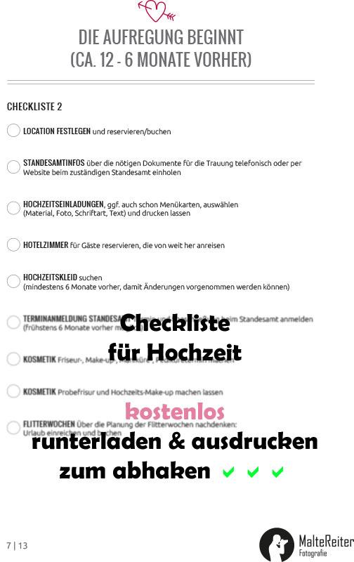Checkliste für Hochzeit als PDF herunterladen